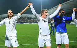 Slovenian players Marko Suler (4), Valter Birsa (10) and Mirnes Sisic (7) celebrate at the fourth round qualification game of 2010 FIFA WORLD CUP SOUTH AFRICA in Group 3 between Slovenia and Northern Ireland at Stadion Ljudski vrt, on October 11, 2008, in Maribor, Slovenia.  (Photo by Vid Ponikvar / Sportal Images)