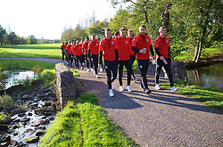CARDIFF, WALES - Monday, October 9, 2017: Wales players during a pre-match walk at the Vale Resort ahead of the 2018 FIFA World Cup Qualifying Group D match between Wales and Republic of Ireland. Chris Gunter, Aaron Ramsey, Sam Vokes and Andy King. (Pic by David Rawcliffe/Propaganda)