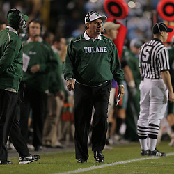 Oct 31, 2009; Baton Rouge, LA, USA;  Tulane Green Wave head coach Bob Toledo on the sideline during the first quarter against the LSU Tigers at Tiger Stadium.  Mandatory Credit: Derick E. Hingle