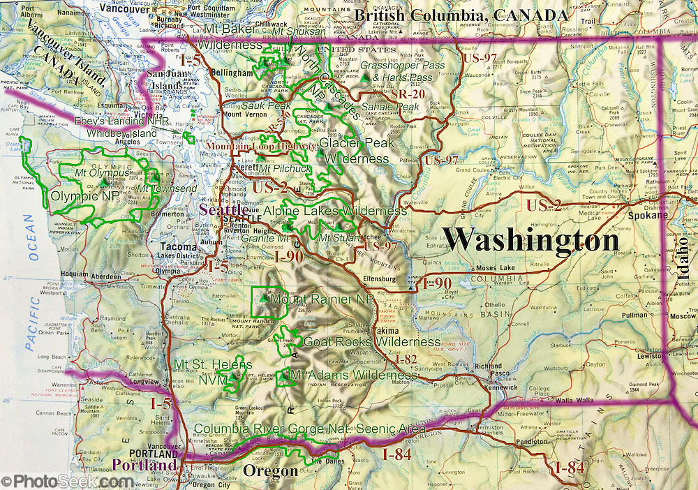 Washington Map Of Major Parks Cities Roads Geography Portfolio