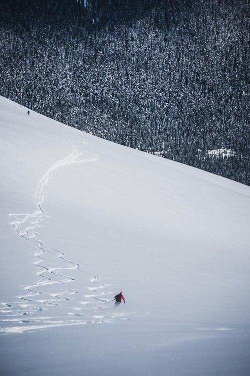 Erme Catino descends from Loft Peak, howson Range, British Columbia.