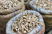Dried mango skins on sale at Khari Baoli spice and dried foods market, Old Delhi, India