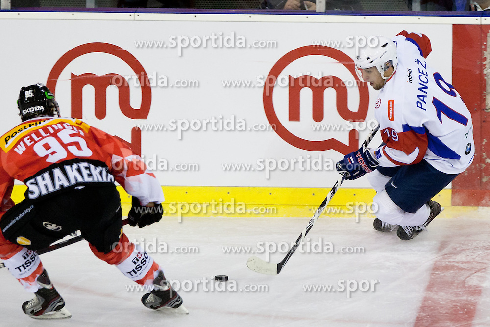 Ziga Pance of Slovenia vs Thomas Wellinger of Switzerland during friendly ice-hockey match between Slovenia and Switzerland, on December 14, 2011 at Hala Tivoli, Ljubljana, Slovenia. (Photo By Matic Klansek Velej / Sportida)