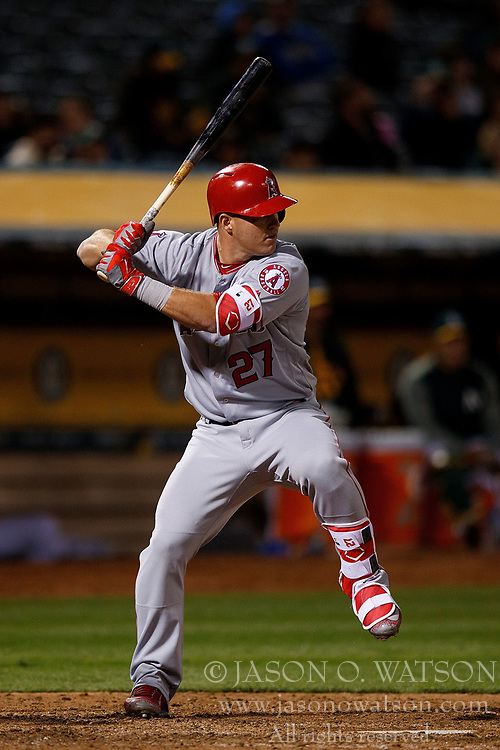 OAKLAND, CA - APRIL 04:  Mike Trout #27 of the Los Angeles Angels of Anaheim at bat against the Oakland Athletics during the eighth inning at the Oakland Coliseum on April 4, 2017 in Oakland, California. The Los Angeles Angels of Anaheim defeated the Oakland Athletics 7-6. (Photo by Jason O. Watson/Getty Images) *** Local Caption *** Mike Trout