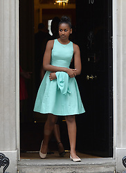 © Licensed to London News Pictures. 16/06/2015. <br /> LONDON, UK. Daughter of Michelle Obama, SASHA OBAMA departs Downing Street after accompanying her mother to have tea with David and Samantha Cameron, London, Tuesday 16 June 2015. Photo credit : Hannah McKay/LNP