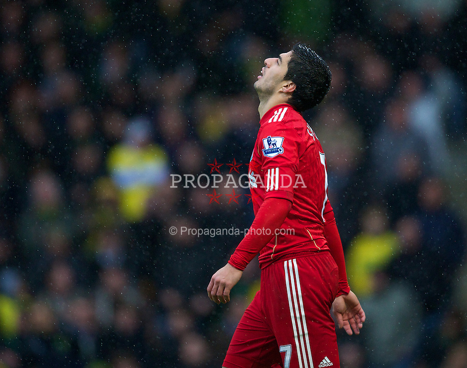 NORWICH, ENGLAND - Saturday, April 28, 2012: Liverpool's Luis Alberto Suarez Diaz rues a missed chance against Norwich City during the Premiership match at Carrow Road. (Pic by David Rawcliffe/Propaganda)