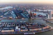 Nederland, Zuid-Holland, Rotterdam, 07-02-2018; Centrum Rotterdam in winters avondlicht, bij zonsondergang. Nieuwe Maas Noordereiland, Kop van Zuid, Erasmusbrug.Spoorweghaven, Binnenhaven. <br /> City centre Rotterdam, Noordereiland (North island). <br /> <br /> luchtfoto (toeslag op standard tarieven);<br /> aerial photo (additional fee required);<br /> copyright foto/photo Siebe Swart