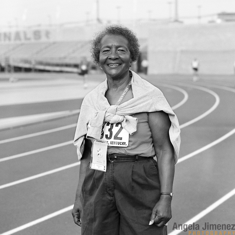 Date: 6/28/07.Desk: NAT.Slug: aging$500.Assign Id: 30081997A..Senior athlete Dalmutha Dammons, 73, of Baltimore, Maryland is photographed participating in the track and field competition at the 2007 Senior Olympics, held at the University of Louisville's Cardinal Park Soccer & Track Stadium in Louisville, Kentucky on June 28, 2007. Dammons, who ran the 200 meter sprint, started running in 1990..Photo by Angela Jimenez for The New York Times .photographer contact 917-586-0916