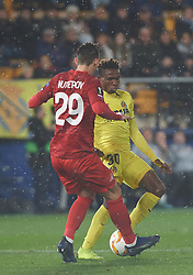 December 13, 2018 - Villareal, Castellon, Spain - Samu Chukwueze of Villarreal CF and Kutepov of Spartak Moscow during the UEFA Europa League Group G match between Villarreal CF and Spartak Moscow at Estadio de la Ceramica on December 13, 2018 in Vila-real, Spain. (Credit Image: © Maria Jose Segovia/NurPhoto via ZUMA Press)