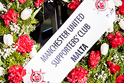 Malta Manchester United supporters wreath during the ceremony at Manchesterplatz, Munich, Germany. Picture by Phil Duncan.