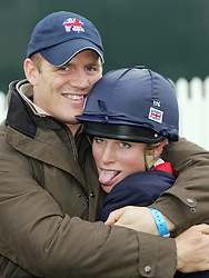 Zara Phillips riding Toytown win the Individual Gold Medal at the European Eventing Championships at Blenheim Palace, Oxfordshire.<br /> Photo by Ian Jones.<br /> Mike Tindall, Zaras boyfriend congratulate her.