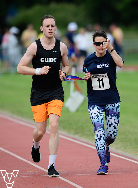 Metro Blind Sport's 2017 Athletics Open held at Mile End Stadium.  1500m.  Maya-Liam Haynes with guide runner<br /> <br /> Picture: Chris Vaughan Photography for Metro Blind Sport<br /> Date: June 17, 2017
