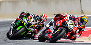 Jun 23  2018  Monterey, CA, U.S.A   # 7 Chaz Davies and # 1 Jonathan Rea battle for position during the Motul FIM World Superbike Race # 1 at Weathertech Raceway Laguna Seca  Monterey, CA  Thurman James / CSM