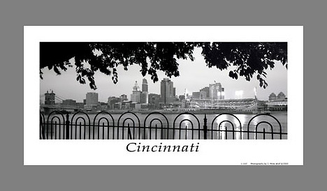 Signed and numbered 12x24 panoramic poster of a black and white Cincinnati skyline, taken from across the river