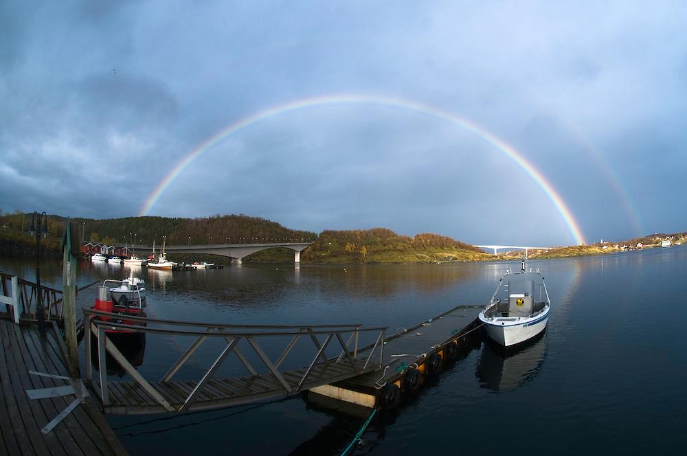 Rainbow over Saltstraumen<br /> Atlantic marine life, Bodö, Norway