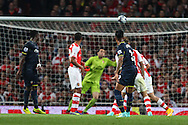 Nathaniel Clyne of Southampton scores his team's second goal against Arsenal to make it 1-2 during the Capital One Cup match at the Emirates Stadium, London<br /> Picture by David Horn/Focus Images Ltd +44 7545 970036<br /> 23/09/2014