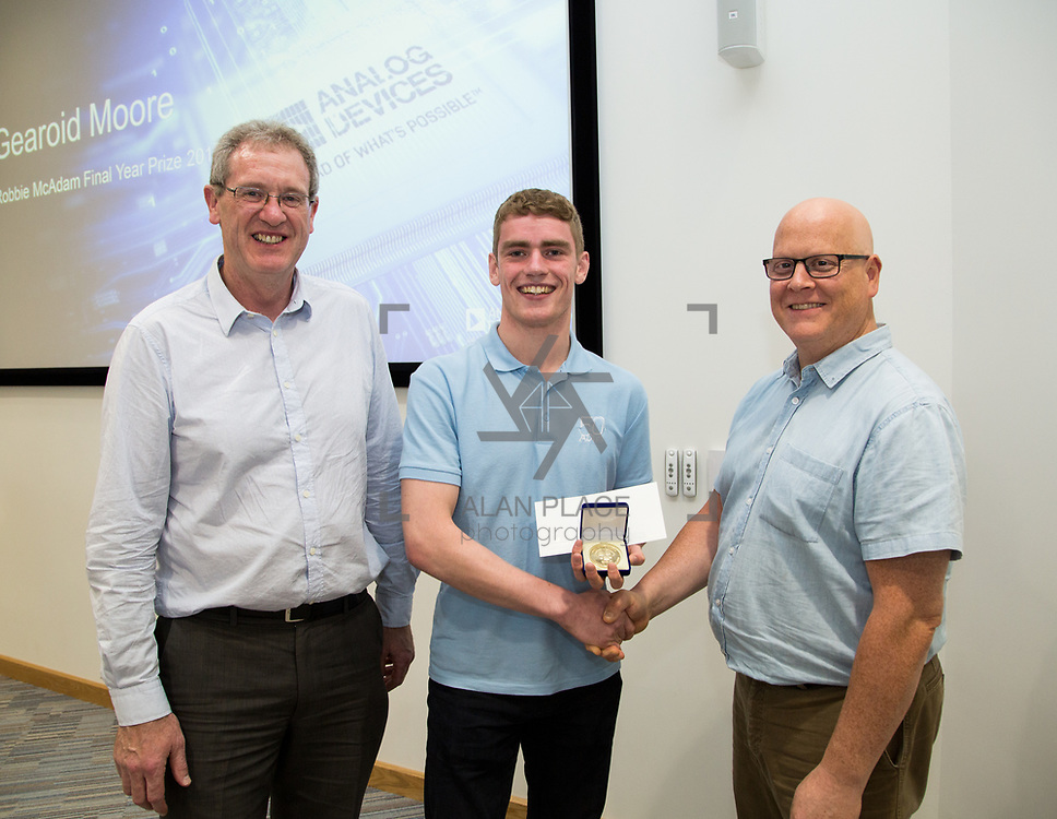 31.05.2017      <br /> University of Limerick Analog Devices Robbie McAdam Awards.<br /> Robbie McAdam Award recipient and Robbie McAdam Medal recipient, Gearoid Moore with Dr. John Nelson, Head of The Electronic &amp; Computer Engineering (E&amp;CE) Department,UL and Mike Keaveney, ADI Fellow Analog Devices. Picture: Alan Place.