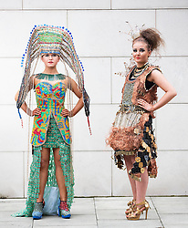 "***Embargoed till 9:30pm *** Repro Free: 02/05/2014 Dublin Aoife Mannion wears ""Recircuitable"" by students of Our Ladys Bower, Athlone and Nicola Bolton wears ""Electrifying"" from Bush Post Primary School, Dundalk ahead of the 2014 Junk Kouture Grand Final which takes place tonight in the O2 Arena. Both outfits have been shortlisted for this year's European Recycling Platform's (ERP) Electrical Waste Award.   The outfits comprise of recycled electrical equipment including plugs, electrical wires, computer components and a lot of hard work! ERP are proud to support Junk Kouture for the third year running which is a national competition for second level students in Ireland and Northern Ireland which challenges teenagers to create high-end wearable fashion from everyday junk that would normally find its way into the bin. Picture Andres Poveda"
