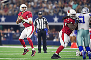 ARLINGTON, TX - AUGUST 26:  Charles Kanoff #6 of the Arizona Cardinals drops back to pass during a game against the Dallas Cowboys at AT&T Stadium during week 3 of the preseason on August 26, 2018 in Arlington, Texas.  The Cardinals defeated the Cowboys 27-3.  (Photo by Wesley Hitt/Getty Images) *** Local Caption *** Charles Kanoff