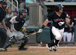 May 22, 2018 - U.S. - ASEC -- The Isotopes Mike Tauchman hits a single during the game against  Salt Lake in Isotopes Park on Tuesday, May 22, 2018. (Credit Image: © Greg Sorber/Albuquerque Journal via ZUMA Wire)