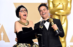 """Rita Moreno with Sebastian Lelio winner of the award for Best Foreign Language Film for """"A Fantastic Woman"""" at the 90th Annual Academy Awards (Oscars) presented by the Academy of Motion Picture Arts and Sciences."""
