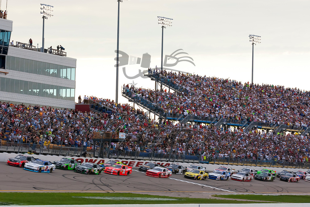NEWTON, IA - AUG 04, 2012:  The NASCAR Nationwide Series teams race in the U.S. Cellular 250 at the Iowa Speedway in Newton, IA.