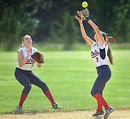 Central Bucks East's Hailey Aspinwall #2 makes a putout as Nicole Tracy #21 backs her up in the first inning against Downingtown West Wednesday May 25, 2016 at Central Bucks East in Buckingham, Pennsylvania. (Photo by William Thomas Cain)