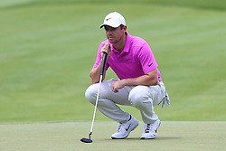 June 22, 2018 - Cromwell, Connecticut, United States - Rory McIlory lines up a putt on the 9th green during the second round of the Travelers Championship at TPC River Highlands. (Credit Image: © Debby Wong via ZUMA Wire)
