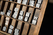 Letterpress printing blocks are displayed in an exhibit during the International Printing Museum's Ben Franklin's Colonial Assembly: A Museum On Wheels at Curtner Elementary School in Milpitas, California, on May 13, 2014. (Stan Olszewski/SOSKIphoto)