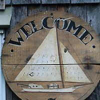 USA, Maryland, Tilghman Island, (MR) Exterior of Chesapeake Bay decoy carver Dan Vaughan's workshop