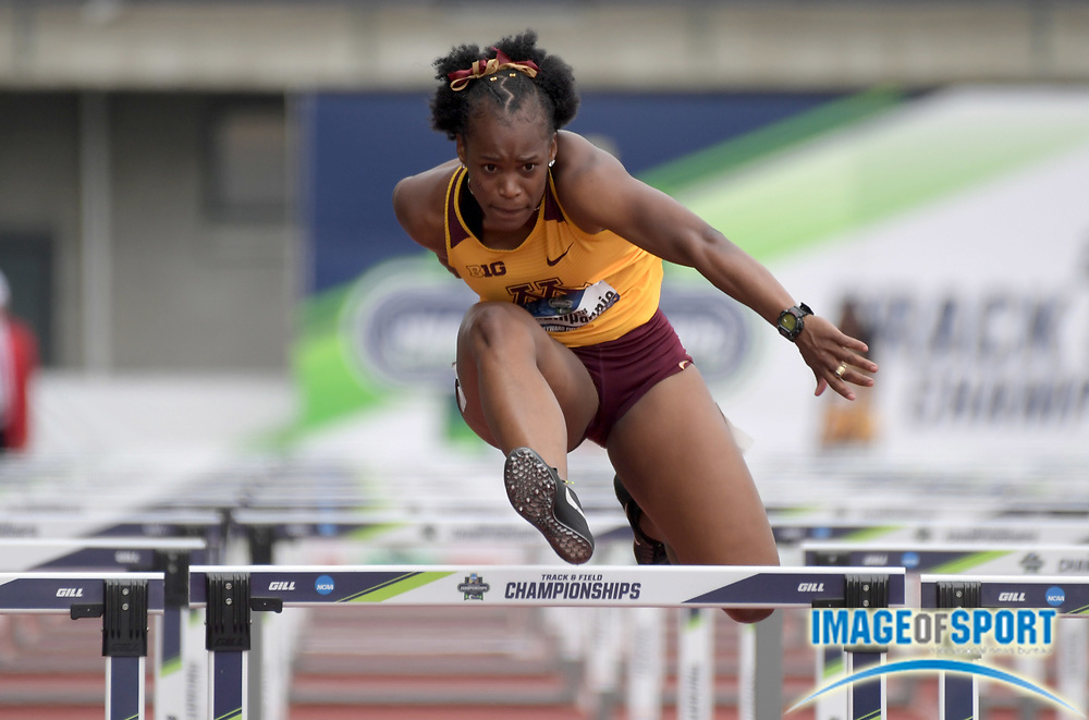 Jun 8, 2018; Eugene, OR, USA; Ayesha Champagnie of Minnesota runs 14.03 in the heptathlon 100m hurdles during the NCAA Track and Field championships at Hayward Field.