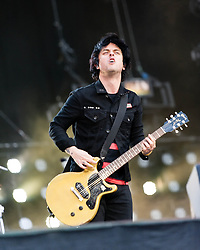 © Licensed to London News Pictures. 01/06/2013. London, UK.   Billie Joe Armstrong of Green Day performing live at The Emirates Stadium. Green Day is an American punk rock band formed in 1987. The band consists of lead vocalist and guitarist Billie Joe Armstrong, bassist and backing vocalist Mike Dirnt, drummer Tré Cool and guitarist and backing vocalist Jason White.  Photo credit : Richard Isaac/LNP