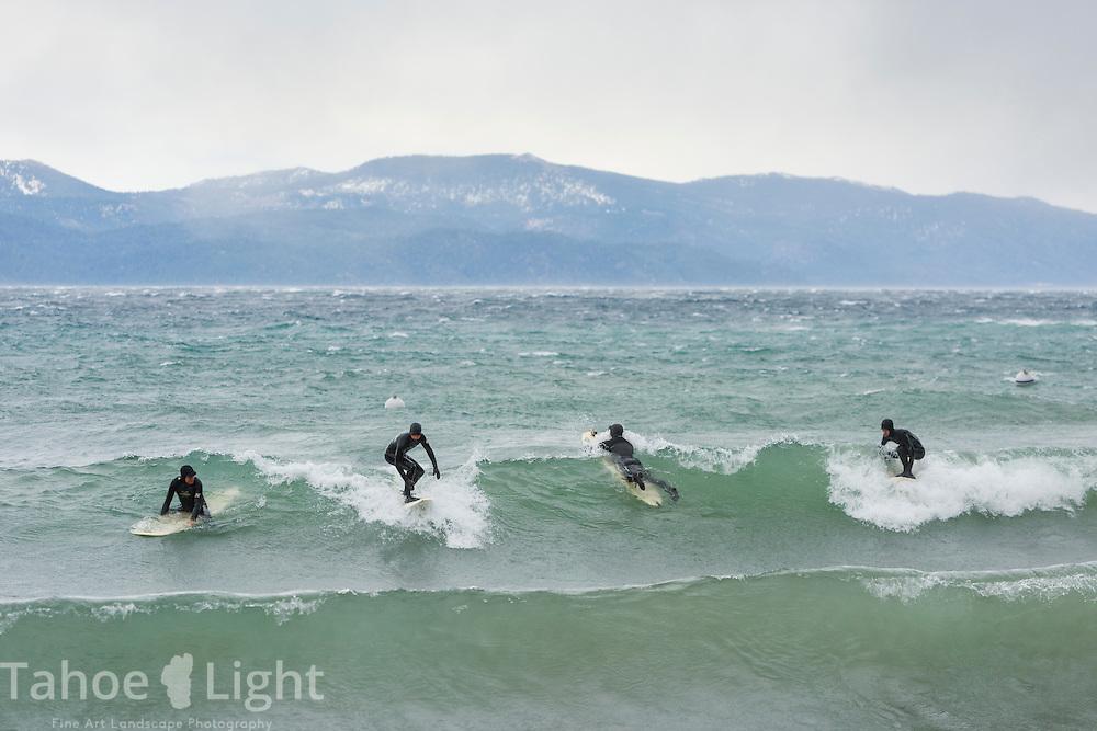 Surfing on Lake Tahoe in windstorm