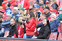 14-07-18 Johannesburg. Emirates Airlines Park. Emirates Lions vs Vodacom Blue Bulls. A young supporter watches the game for the right moment to take a photo.<br /> 1st half. <br /> Picture: Karen Sandison/African News Agency (ANA)
