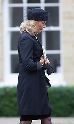 BRENTWOOD - UK - 11- SEPT - 2013: Britain's Prince Charles, The Prince of Wales,accompanied by Camilla, The Duchess of Cornwall and his sons Prince WIlliam and Prince Harry attend the funeral of Charles's close friend Hugh Van Cutsem at Brentwood Cathedral in Essex.<br /> Mrs Van Cutsem and family leave the Cathedral at the end of the service<br /> Photo by Ian Jones