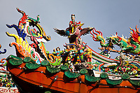 Detail on the roof of a Chinese Temple, Kuching, Sarawak.