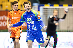 Miha Zarabec of Slovenia reacts during handball match between National teams of Slovenia and Netherlands in Qualifications of 2020 Men's EHF EURO, on April 14, 2019, in Arena Zlatorog, Celje, Slovenia. Photo by Vid Ponikvar / Sportida