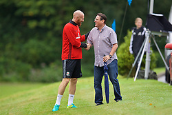 CARDIFF, WALES - Friday, September 2, 2016: Wales' James Collins with former Swansea and Liverpool coach Colin Pascoe during a training session at the Vale Resort ahead of the 2018 FIFA World Cup Qualifying Group D match against Moldova. (Pic by David Rawcliffe/Propaganda)