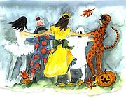"""Halloween Dance. Watercolor.  12x16"""". ©JoAnn Hawkins"""