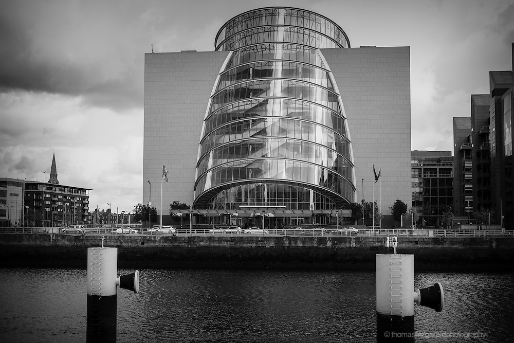 A balck and white view of the Dublin Convention Centre on the North bank of the River Liffey