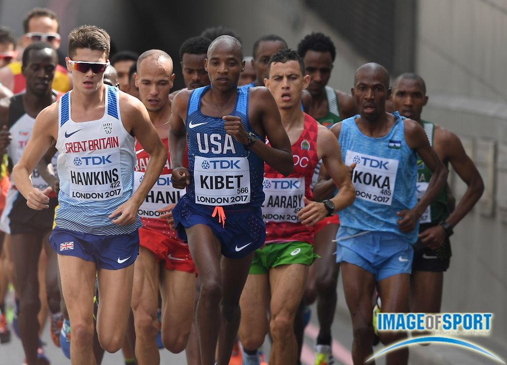 Callum Hawkins (GBR) and Elkanah Kibet (USA) lead the marathon in the IAAF World Championships in Athletics in London on Sunday, August 6, 20017. (Jiro Mochizuki/Image of Sport)
