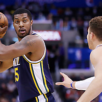23 October 2013: Utah Jazz power forward Derrick Favors (15) looks to pass the ball during the Los Angeles Clippers 103-99 victory over the Utah Jazz at the Staples Center, Los Angeles, California, USA.