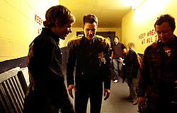 The post-punk band The Killers perform at the Hammerstein Ballroom at Manhattan Center Studios in New York, N.Y. on Oct. 24, 2008. Singer Brandon Flowers finishes an MTV interview backstage.