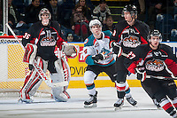 KELOWNA, CANADA - DECEMBER 30: Rourke Chartier #14 of Kelowna Rockets looks for the pass against the Prince George Cougars on December 30, 2014 at Prospera Place in Kelowna, British Columbia, Canada.  (Photo by Marissa Baecker/Shoot the Breeze)  *** Local Caption *** Rourke Chartier;