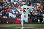 San Francisco Giants third baseman Pablo Sandoval (48) runs out a double against the Colorado Rockies at AT&T Park in San Francisco, California, on September 20, 2017. (Stan Olszewski/Special to S.F. Examiner)