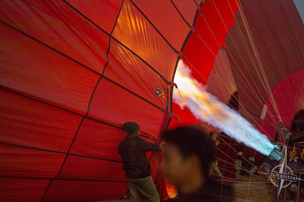 Inflating balloons and preparing to launch at Balloons Over Bagan in Bagan, Myranmar.