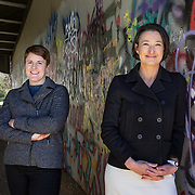 WASHINGTON, DC - MAR23: Executive Director Alison Greenberg of Georgetown Heritage (right) and Maggie Downing, Director of Public Programs & Partnerships for Georgetown Heritage, on the towpath of the Chesapeake and Ohio (C&O) Canal in Georgetown, near the aqueduct in Washington, DC, March 23, 2017. Georgetown Heritage the National Park Service, and the DC Office of Planning are hoping to upgrade the the one mile stretch of the C&O Canal that runs through Georgetown to create a destination experience like the Highline in New York City. (Photo by Evelyn Hockstein/For The Washington Post)