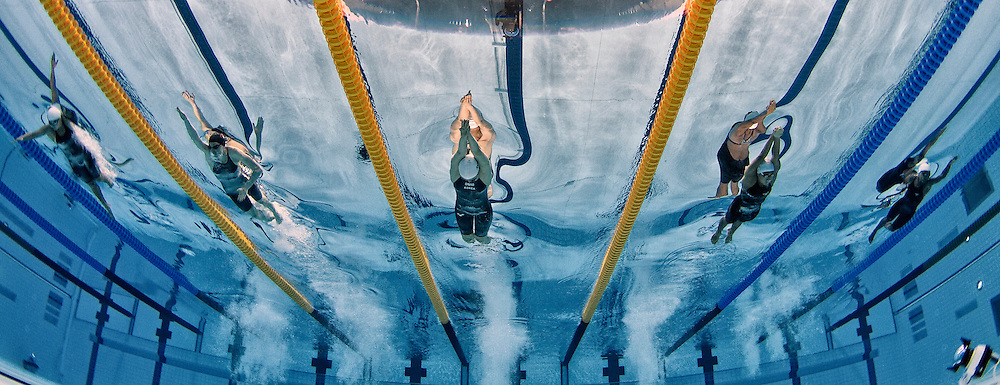 (L-R) Heather Arseth of Mauritius, Danielle Villars of Switzerland, Il Joo Baek of South Korea, Natthanan Junkrajang of Thailand and Aurelie Fanchette of Seychelles compete in the women's 200m Freestyle Heats during the Swimming competition held at the Aquatics Center during the London 2012 Olympic Games in London, Great Britain, Monday, July 30, 2012. (Photo by Patrick B. Kraemer / MAGICPBK)