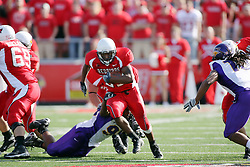 29 September 2007:  Jordan Lacy dives at a running Geno Blow. In action between the Northern Iowa Panthers and the Illinois State Redbirds, the Panthers chewed up the Redbirds by a score of 23 - 13. Game action commenced at Hancock Stadium on the campus of Illinois State University in Normal Illinois..