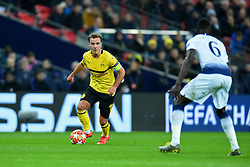 February 13, 2019 - London, England, United Kingdom - Borussia Dortmund midfielder Mario Gotze is watched by Tottenham defender Davinson Sanchez during the UEFA Champions League match between Tottenham Hotspur and Ballspielverein Borussia 09 e.V. Dortmund at Wembley Stadium, London on Wednesday 13th February 2019. (Credit: Jon Bromley | MI News & Sport Ltd) (Credit Image: © Mi News/NurPhoto via ZUMA Press)